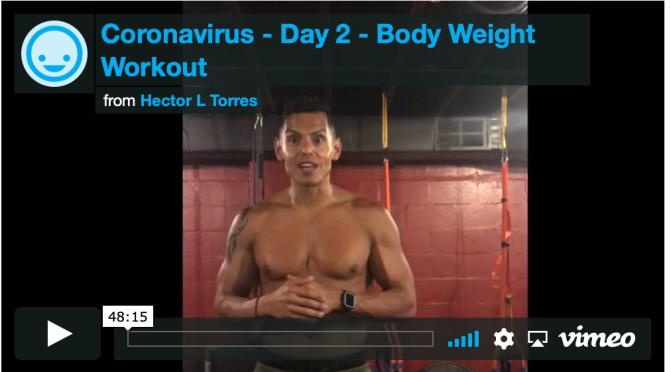 CoronaVirus  DAy 2 – At Home Workout